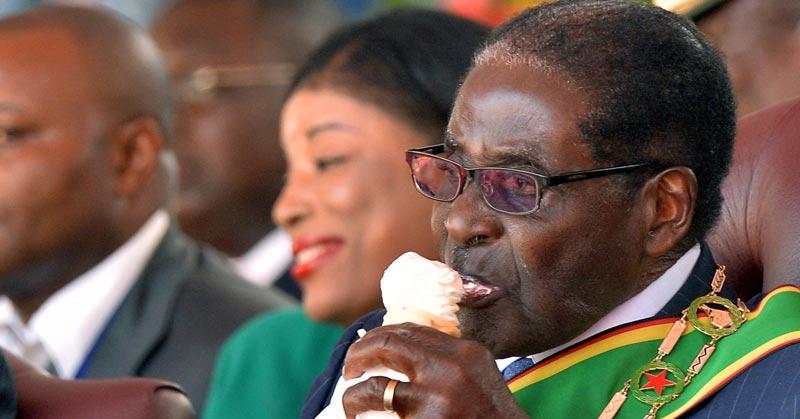 Robert Mugabe having Ice Cream