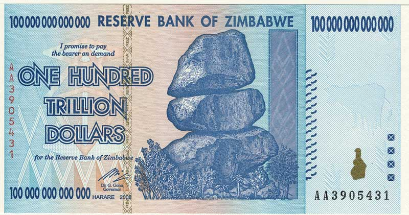 100 Trillion Note - Zimbabwe