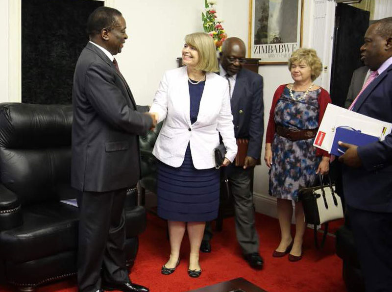 Harriet Baldwin UK Minister for Africa With Emmerson Mnangagwa