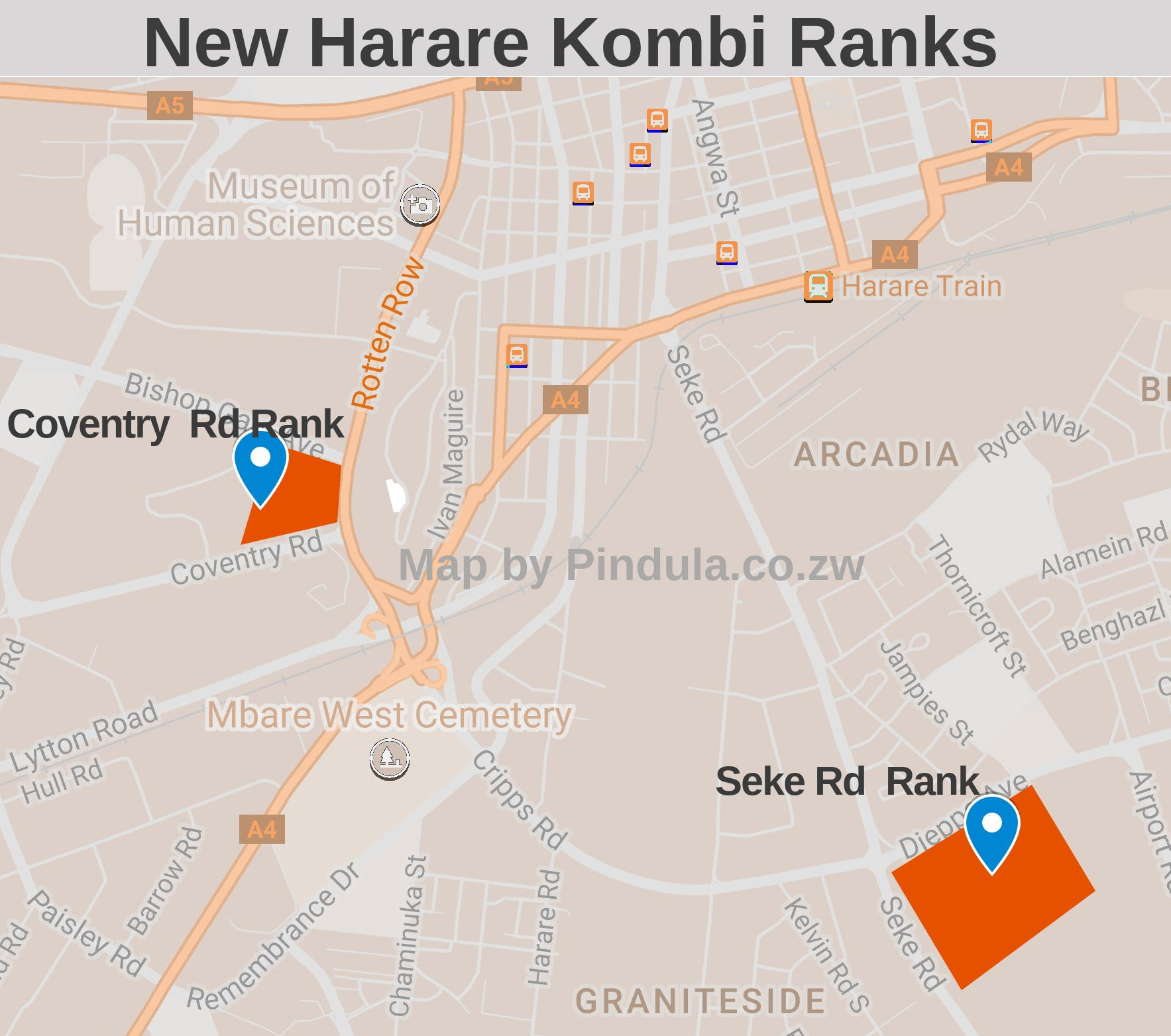 Here Are The New Kombi Ranks in Harare Map Inside Effective 21