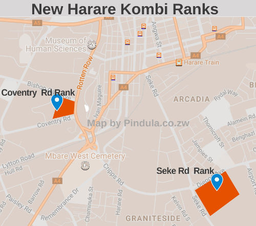 New Harare Kombi Ranks (Click for larger map)
