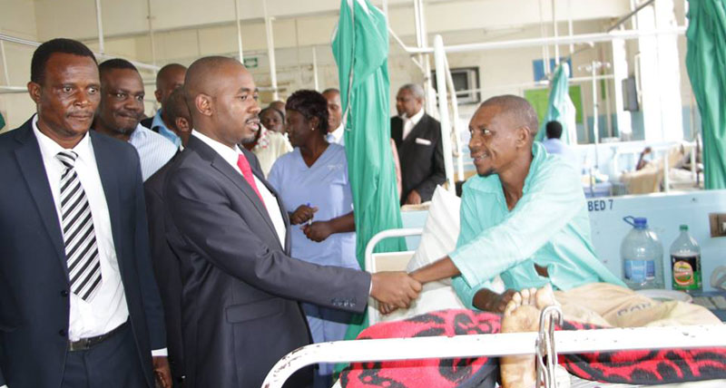 Nelson Chamisa Tours Harare Hospital