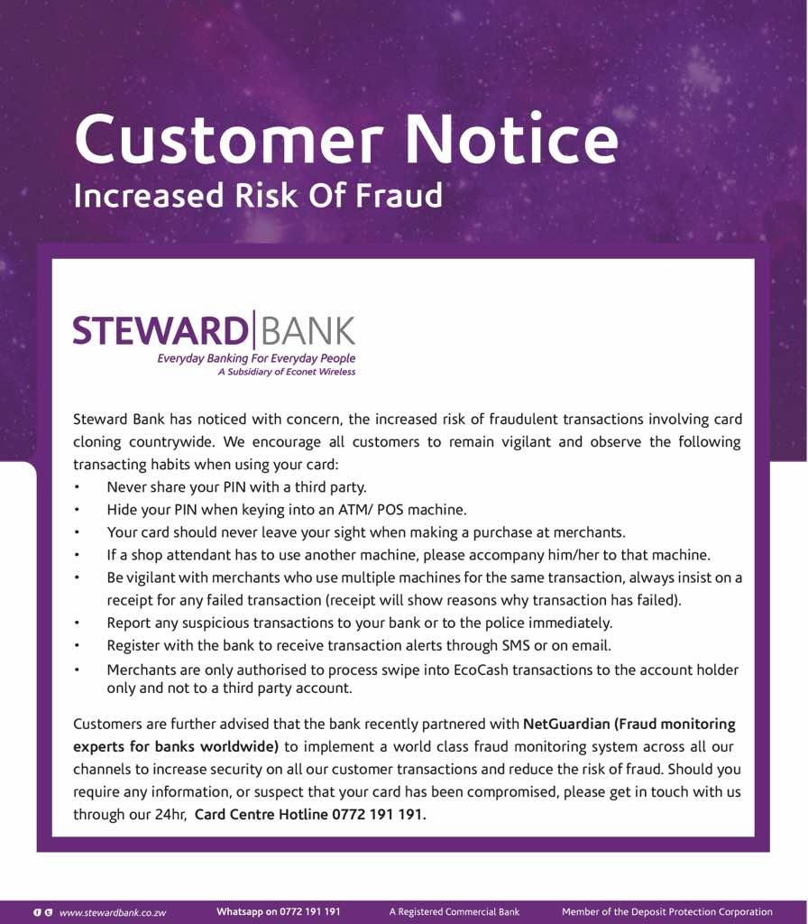 Steward Bank Card Cloning Warning