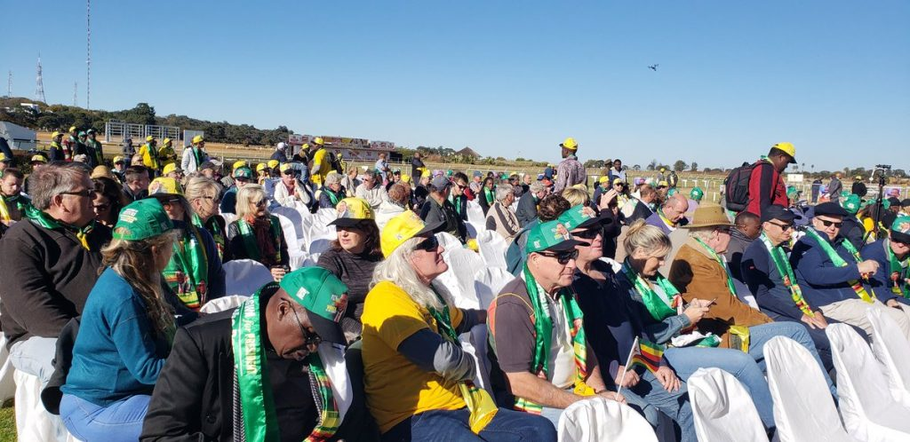Image result for images of Mnangagwa whites only rally in Borrowdale