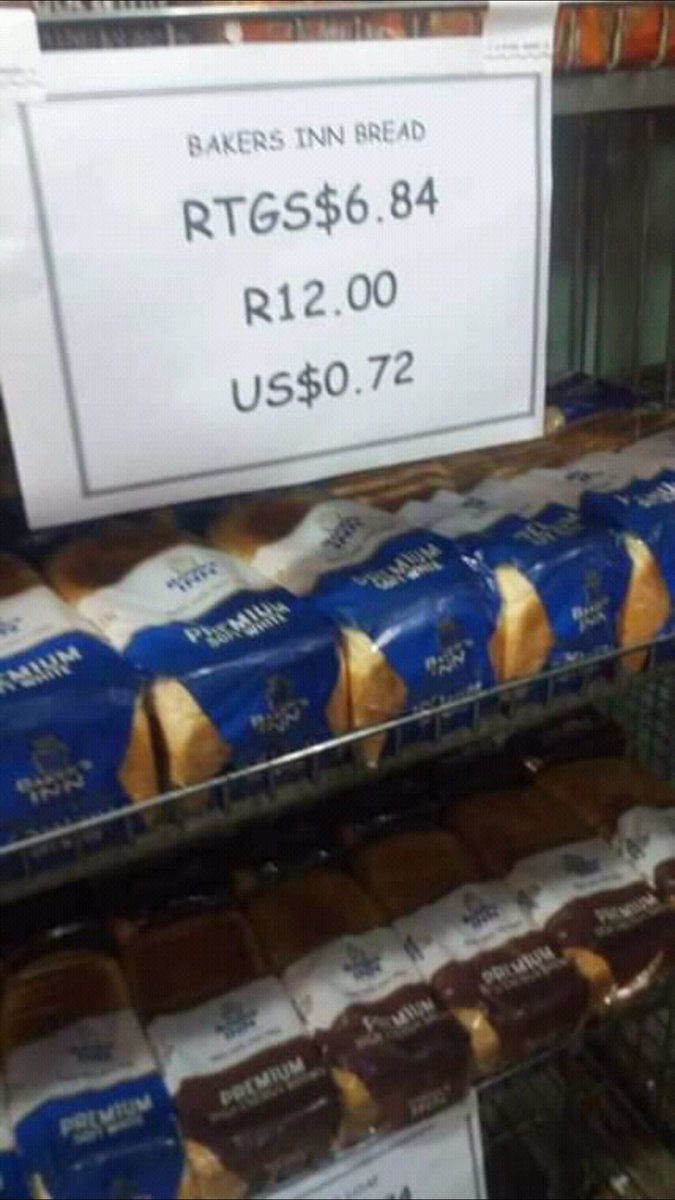 PICTURE: Bread Now Costs RTGS$6.84/ US$0.72 Per Loaf