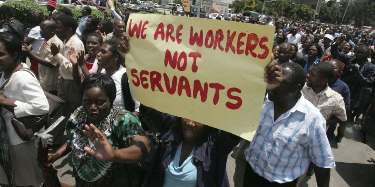 Zimbabwe civil servants protest over poor salaries rejected no pay no work
