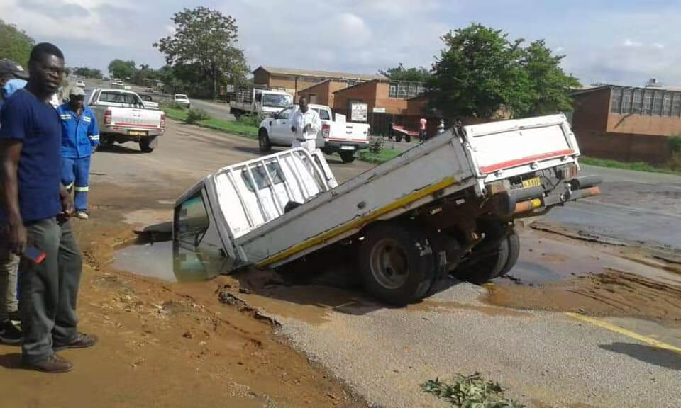 Truck plunges into pothole in Bulawayo