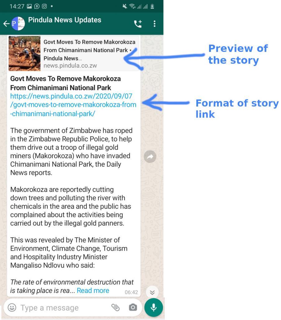 Format of Pindula News Story on WhatsApp