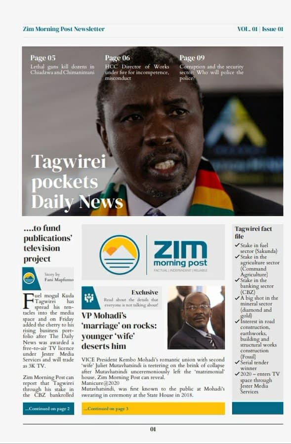 Tagwirei Bouth the Daily News - ZimMorning Paper