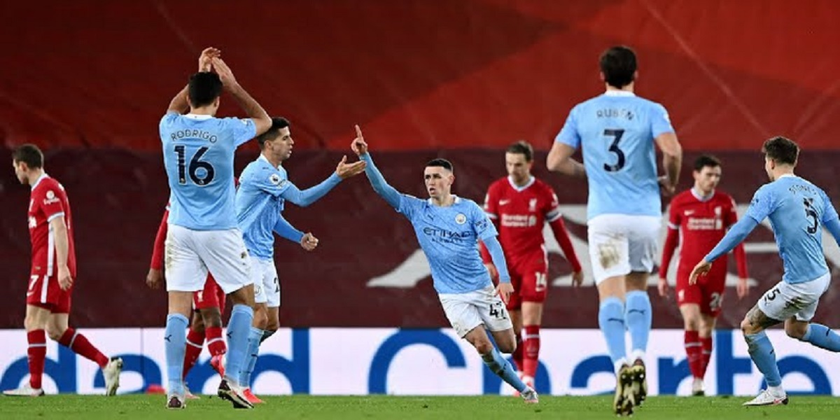 Manchester City's Phil Foden Celebrate Goal Against Liverpool