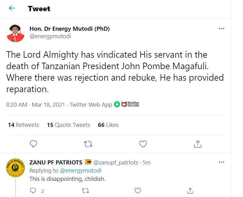 """""""God Has Vindicated Me"""" Mutodi On Magufuli's Death"""