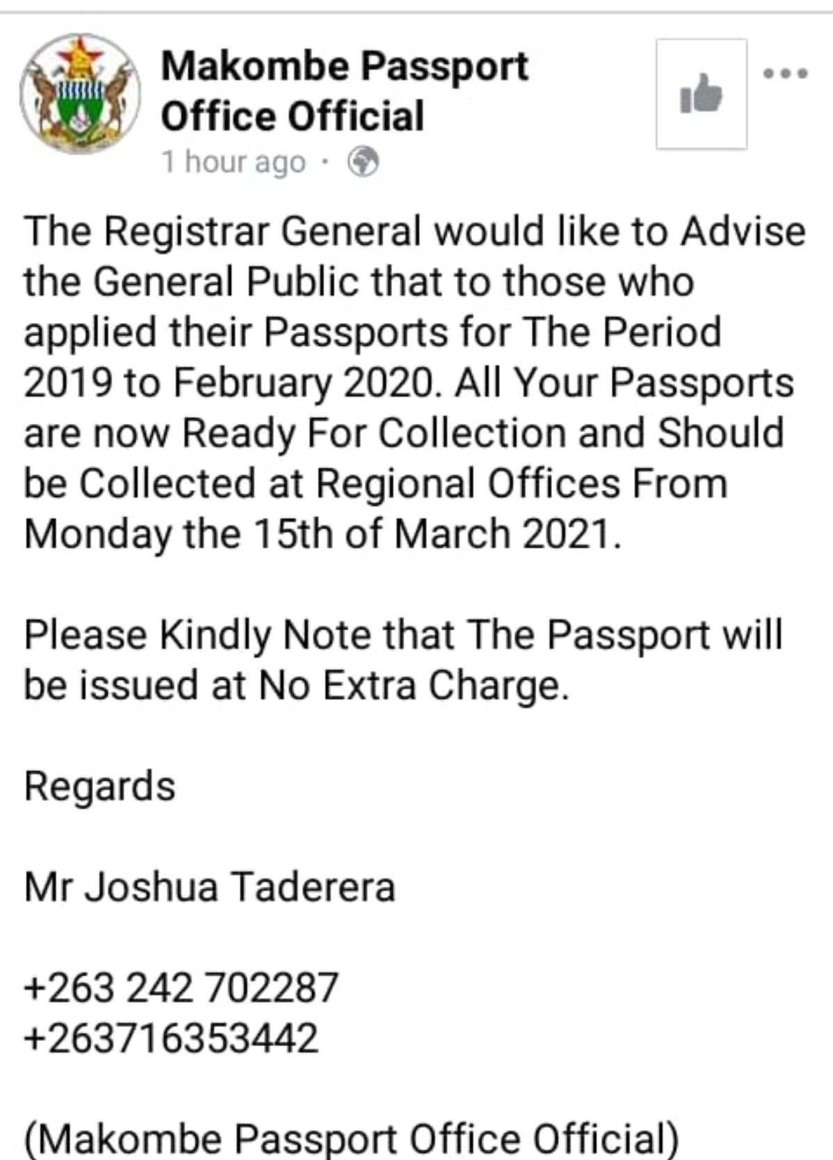 Nick Managwan dismiss passport rumours