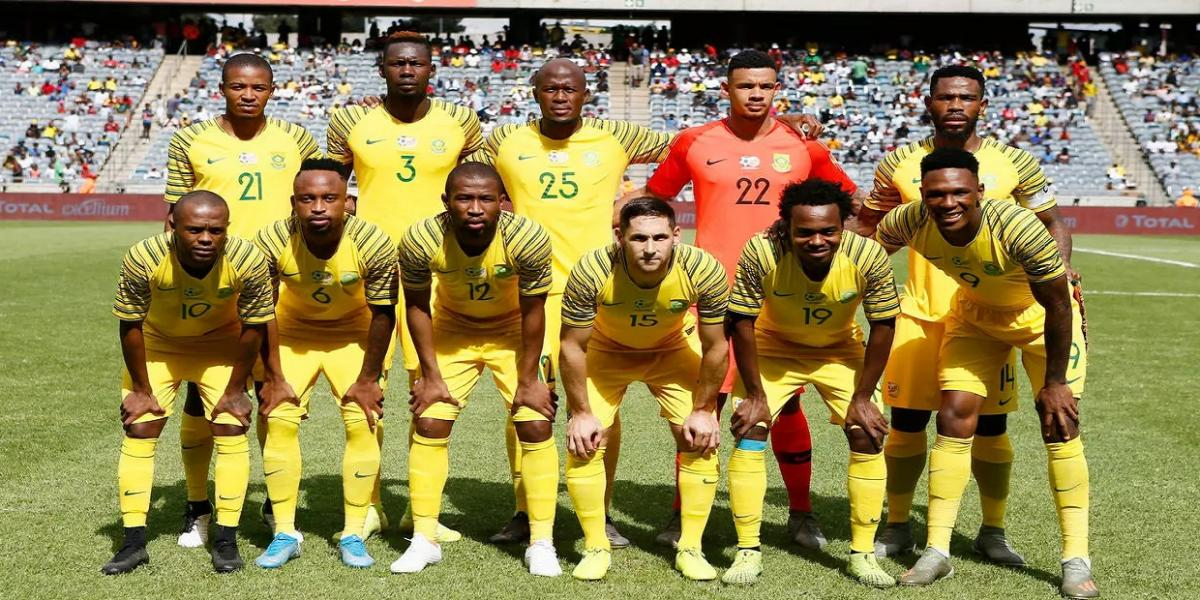 South Africa pose before beating Sudan in Soweto in the second round of 2021 Africa Cup of Nations qualifying