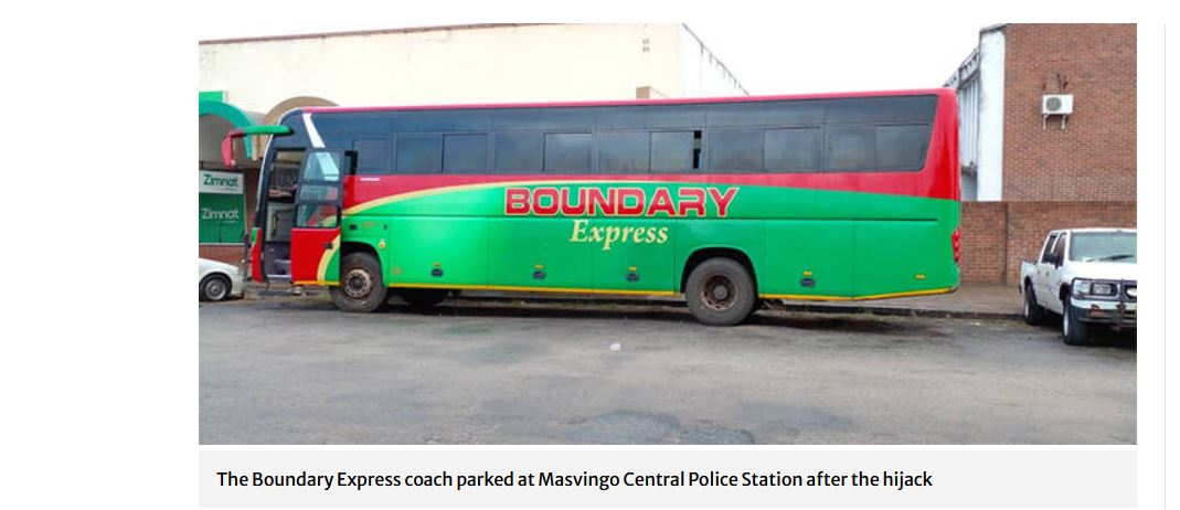 BOUNDARY EXPRESS hijacked passengers stabbed robbers lockdown breach charges hijacked zrp arrest hijackers